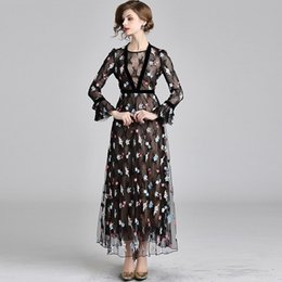 5df4eeab6 Vestido de fiesta de noche de las mujeres de manga larga elegante de la  vendimia negro vestidos de cóctel bordado hilado neto vestido largo