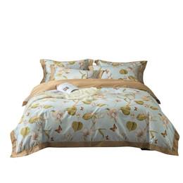 2019 conjuntos de cama florais Conjunto de cama de algodão Egípcio europeu floral folha de impressão pastoral conjuntos de cama de linho capa de edredon de alta qualidade rainha king size conjuntos de cama florais barato
