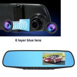 caméra de vision nocturne de voiture miroir Promotion DVR caméra 4.3inch 1080p voiture DVR double lentille renversant rétroviseur caméra moniteur Night Vision automobiles