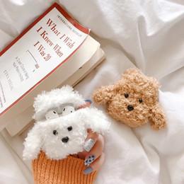 2019 funda de coche de lujo iphone Lovely Dog Furry Bolsa de almacenamiento Bolsa para TWS Airpods Auricular inalámbrico Plush Animal Print Funda protectora Invierno