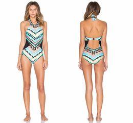 Bikini a pezzi poco costosi online-Cheap 2019 Monaco stampato One Piece Beachwear Bikini Set Backless Halter Neck Maillot Bikini De Bain Femme SO0509