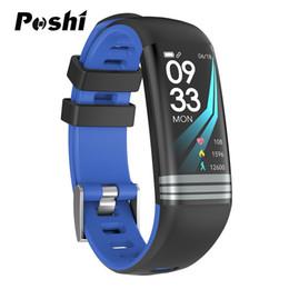 tonos de pantalla Rebajas Reloj unisex inteligente con pantalla en color Cámara azul Correa de cuero en tono negro Reloj elegante pulsera Hombres Mujeres Pulsera