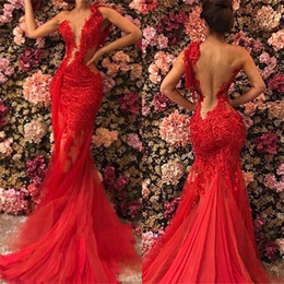 Rote schiere sehen durch kleid online-2019 Red Sheer Durchsichtig Backless Mermaid Prom Kleider Plus Size Spitze Tüll Nach Maß Abendkleider Formals BC1518