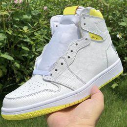 sneakers bar Rabatt First Class Flight Basketball Schuhe für Herren 1s Bar Code Lemon Yellow 2019 Neue Designer Mens Fashion Sportswear Trainer Sneakers
