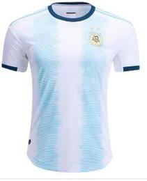 Copa de futbol online-Jerseys del fútbol de la Argentina Inicio fútbol camisa 19/20 Copa América # 10 MESSI # 9 # 21 AGUERO Dybala # 22 uniformes de fútbol Lautaro