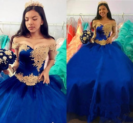 Abito cinerario quinceanera reale online-2018 Cinderella Royal Blue Ball Gown Quinceanera Dresses Sweet 16 Dress Off Shoulder Long Puffy Princess Pleats Evening Wear Tulle