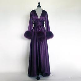 Пурпурное перо ночной халат с длинными рукавами на заказ мех атласная пижама ночные рубашки халаты с поясом от
