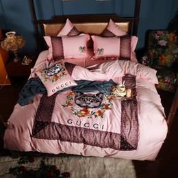 Canada Rose Exquise Broderie Literie Fille Chambre De Luxe Design Chat Broderie 4 PCS Textile À La Maison Sexy Dentelle De Mode Literie cheap cat embroidery lace Offre