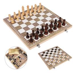 jogos de xadrez madeira Desconto Conjunto de madeira Damas Gamão 3 Em 1 Jogo de Viagem Internacional Xadrez De Madeira Peças de Tabuleiro de Xadrez Dobrável I3 Q190604