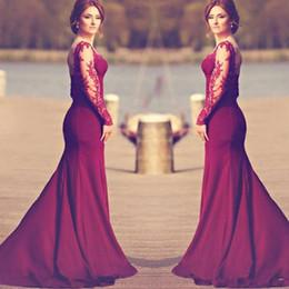 Свадебные платья онлайн-Дешевые Длинные Платья Русалки Невесты Бургундия Топ Кружева С Длинным Рукавом Спинки Изображения Южная Африка 2020 Новый Sexy Maid of Honor Gowns Z148