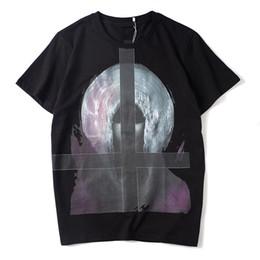 camiseta con estampado cruzado Rebajas Diseñador de lujo para hombre de la camiseta de los hombres de las mujeres de alta calidad de manga corta de moda parejas de algodón de verano camiseta de impresión cruzada camisetas negro