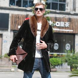 Abrigo largo de terciopelo púrpura online-Abrigo de visón Hombre de visón entero, morado americano, cuello largo, abrigo de piel de hombre, terciopelo