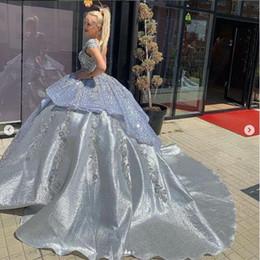 vestido de flores de talla grande azul nude Rebajas Vestido de fiesta de encaje azul Vestidos de novia Tallas grandes Princesa árabe de lujo Vestidos de novia góticos africanos Vestido de novia 2019 Vestido De Novia