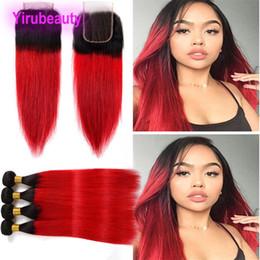 capelli rossi vergini dritti Sconti Estensioni dei capelli vergini indiani 3 fasci con chiusura in pizzo 4X4 Medio tre parte libera 1B rosso dritto due toni colore 1B / rosso 12-26 pollici