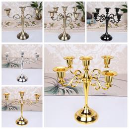 pilares de cristal Desconto Castiçal de coluna de Metal titulares 3 5 Braços Castiçal Stand Mariage Candelabra 4 Cores Decoração Do Casamento 22 pcs OOA6393