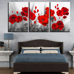 2019 marcos para cuadros de flores Pinturas en lienzo Decoración para el hogar Impresiones Amapolas románticas Cartel 3 piezas Flores rojas Imágenes para sala de estar Arte de pared modular enmarcado marcos para cuadros de flores baratos