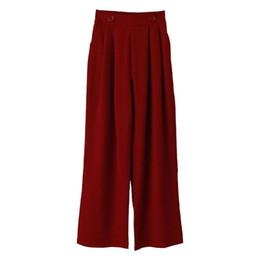 Trapeador de primavera online-Net Red Temperamento Primavera Verano Nuevas mujeres Traje trapeador de cintura alta Pantalones anchos de la pierna Moda caliente Jooyoo