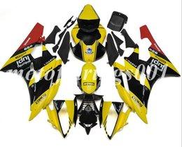 R6 giuntatura gialla online-(Stampo per iniezione) Kit carenature complete in ABS di nuovo stile adatto per Yamaha YZF-R6 R6 2006 2007 06 07 Carenatura Carrozzeria Personalizzata Rosso Giallo