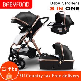 quadros antigos Desconto 0-3 anos de idade Alta paisagem Golden frame preto 3in1 Stroller Reversível Assento Push Handle luxo carrinhos de bebê de couro bebê afeiçoado