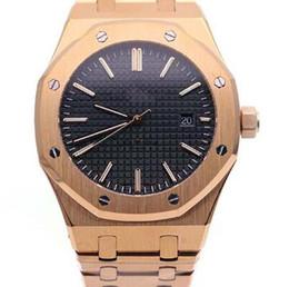 Мужские часы черного золота онлайн-Королевский Дуб Черный Циферблат Автоматическая Механическая Прозрачный Корпус Назад Розовое Золото Мужские Часы Мужские Часы 41 ММ Наручные Часы Браслет Из Нержавеющей Стали