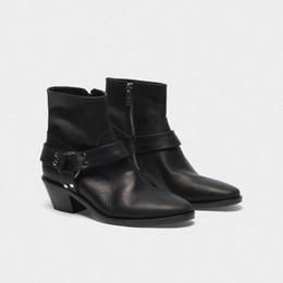 Botas de tubo de cocina online-venta caliente Femininas Winte otoño las mujeres botas de ante de tobillo clásico Ovejas señalaron-dedo del pie Botas Femininas atractivo Stovepipe