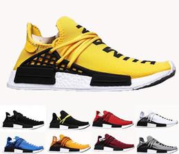 кроссовки ems Скидка 2019 топ мужские дизайнерские кроссовки с коробкой Pharrell Williams образец желтого ядра черный спортивная дизайнерская обувь женские кроссовки 36-45
