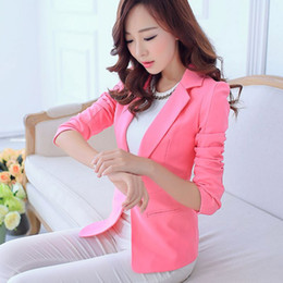 b34eb45e05b3e Women Blazers And Jackets Suit Spring Autumn Single Button Blaser Female  white black pink blue Ladies Blazer Femme