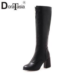 a49f042d DORATASIA plus Size 32-46 nueva cremallera decoración zapatos de tacones  altos mujer fiesta casual retro invierno primavera media pantorrilla botas