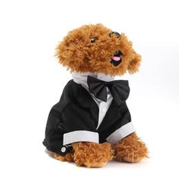 Perro mascota de esmoquin online-Bow Cute Pet Dog Cat Ropa Traje de Boda Esmoquin Bow Tie Puppy Gentleman Coat Puppy Coat Coat L Tamaño