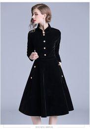 2019 vestes negras para mulheres 2018 Mulheres New Black vestido vintage elegante Manga comprida de veludo partido Magro Vestido Ol escritório desgaste Outono Inverno Longo Vestidos Robe desconto vestes negras para mulheres
