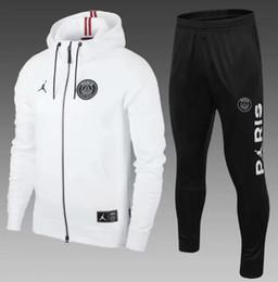 Tuta bianca online-Giacca da calcio felpa con cappuccio Paris PSG bianca 2018/19 giacca da calcio tuta psg MBAPPE Survêtement Jordam X felpa con cappuccio psg