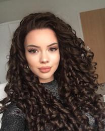 2019 tinte natural para el cabello de color marrón oscuro 1/6 bruto brasileño rizado mechón de cabello frontal de cierre con rizado rizado de la armadura de la cutícula Alineados