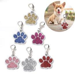 Tarjetas flash de animales online-Parpadear huellas rosa colgante collar del animal doméstico creativas linda de 6 colores de alimentos para mascotas para evitar la pérdida de la pendiente de identidad
