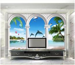 Photo 3D papier peint personnalisé 3d peintures murales papier peint Europe arch plage plage île cocotier dauphin fenêtre paysage marin fond mur ? partir de fabricateur