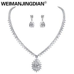 Funkelnden Zirkonia Teardrop Und Blume Halskette Und Ohrring Hochzeit Braut Schmuck Set In Weiß Gold Farbe überzogen Schmuck & Zubehör