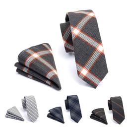 GUSLESON Qualidade 6cm de algodão laços e bolso Conjunto Praça da manta Magro Tie For Men magro listrado gravata Terno do casamento do partido de