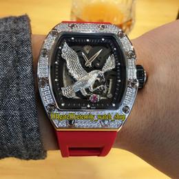 bracelet en caoutchouc Promotion Version haut Nouveau Motif Eagle RM23-02 Cadran Squelette Miyota 6T51 Automatique RM 23-02 Montre Homme Diamants Boîtier Bracelet En Caoutchouc Rouge Montre Sport