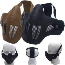 casco protector táctico Rebajas MUQGEW Caza Tactical Metal Steel Net casco Malla Mitad inferior cara máscara protectora deportes al aire libre de seguridad accesorio