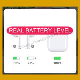 Батареи для наушников bluetooth онлайн-Новинка Air H1 Chip Animation Беспроводная зарядка Наушники Настоящий уровень заряда батареи Bluetooth Наушники pk Airpods W1 2 Стручка