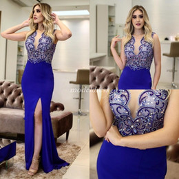 Requintado sereia noite vestidos de comprimento on-line-Exquisite Royal Blue Crystal Mermaid Prom Dresses 2019 Sheer Neck Side Split Beads Long Formal Evening Party Gowns Special Occasion Dress