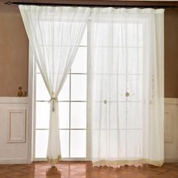 Algodão jacquard janela on-line-Cortina de linho de algodão Cortina de estilo simples para sala de estar Jacquard Voile para cama Tratamento de janela / cortinas