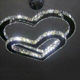 ornamenti di vetro di vetro Sconti Lampadario moderno a LED in cristallo a sospensione a soffitto con illuminazione a cuore