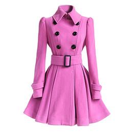 Niñas vestidos cruzados online-Abrigo de lana de invierno Rosa rompevientos Multicolor Mujeres vendaje Top Lana Blend Girls vestido chaqueta gruesa de doble botonadura damas Tops
