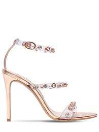 Deutschland Kostenloser Versand Damen Lackleder High Heel Sandalen Schnalle Rose Solid Diamond Ornamente Sophia Webster Peep-Toe transparent Gold Größe 34-42 Versorgung