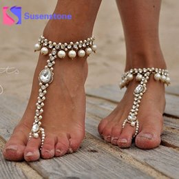 sandali di nozze della spiaggia dell'oro Sconti Gioielli 1pc Fashion Girls Sexy cristallo Perle perline catena cavigliere braccialetto delle donne Argento Oro a piedi nudi del sandalo del piede Beach Wedding