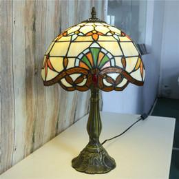 glasfenster schreibtisch lampen Rabatt Kreative Bettlampen 12 Zoll Tiffany Tischlampe Glasmalerei Europäischen Barock Klassische Schreibtischlampe für Wohnzimmer E27 110-240 V
