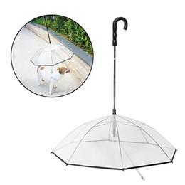 2019 óculos de cão de plástico Cão de estimação Guarda-chuvas dobráveis e transparentes Guarda-chuva dobrável para cachorros Anda a trela do cão Capa de chuva Equipamento para cães Leva guarda-chuvas GGA1658