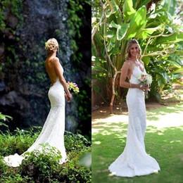 vestidos de verão de comprimento completo Desconto 2019 Nova Moda Verão Praia Vestidos de Casamento Cintas de Espaguete Cheia Do Laço Sem Encosto Sexy Até O Chão Vestidos De Noiva Do Casamento de 1042