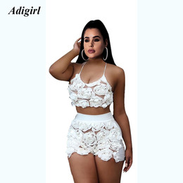 9067ba8f3349d3 Adogirl Elegant 3D Flower Perspective Women Set Sexy Lace Up Bandage Crop  Top With Shirts Two Piece Set Night Club Beach Suit