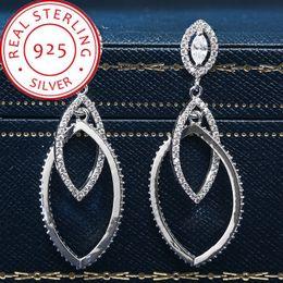 2019 diamant-mode lange ohrringe 925 Sterling Silber Ohrringe für Frauen Long Full Diamond tropfenförmigen Mikro-verkrusteten Mode Quaste Ohrring für Männer Jubiläum Luxus günstig diamant-mode lange ohrringe